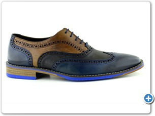 14737 Navy Cognac antic Inj Leather Sole Side