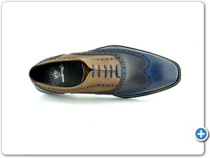14737 Navy Cognac Antic Inj Leather Sole Top