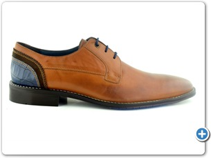 14754 Cognac Antic Inj Brown Leather Sole Side