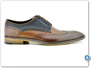 2203 Cognac Antic - Navy Meteor Anthracite Lining Leather Sole Side